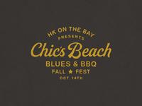 Blues & BBQ type southern beach lockup lettering bbq music blues festival branding