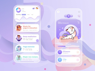 Yoga App with Magic&Cute Animals clean cute art gradient 2d yoga branding flat minimal type dailyui cute web illustration design vector ux ui icon dribbble app