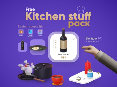 Kitchen Stuff pack *Free* dailyui isometric kitchen blender3d blender packing ios mobile web free freebie 3d illustration design vector ux ui icon app dribbble