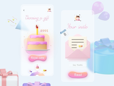 Delight Friends App blender art productdesign button cake birthday font icon 3d animation mobile branding web illustration design vector dribbble app ux ui