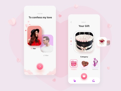 Valentine's Day App dribbbleweeklywarmup finder dating girl 3d lovers romantic valentine cute love art mobile branding web illustration app vector design icon ui