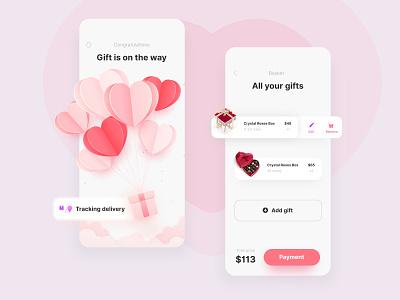 Valentine's Day App payment heart love dating 3d blender affinity designer ux ui art mobile app productdesign animation minimal branding illustration vector design typography