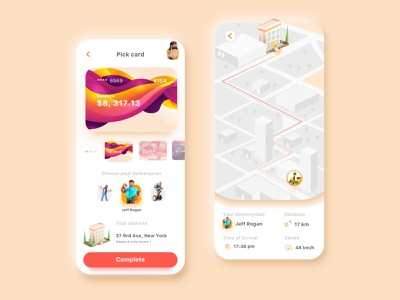 Happy Delivery Food:) card map food interface ux ui wallet crypto landingpage 3d animation minimal typography mobile branding dribbble web icon app illustration