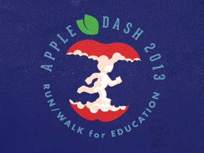 Apple Dash 2013 t-shirt. design illustration logo mike bruner run walk race education apple core runner
