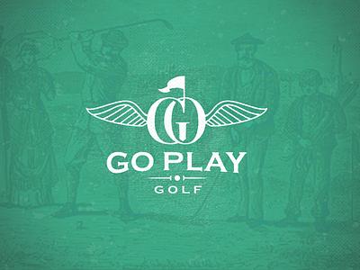 Go Play Golf-drib golfing golfball flag mikebruner crest retro golf