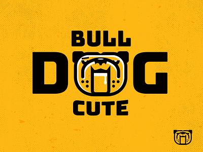 Bulldog Cute- drib illustration logo monoline design dog mikebruiner bulldog