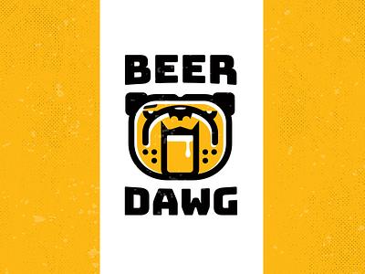 Beer Dawg_ drib brewery beer art beer label illustration graphic design logo mikebruner bar bulldog dog beer