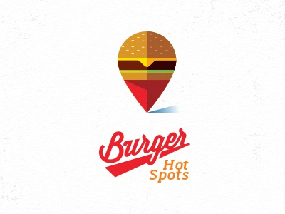 Burger Hot Spots hamburger pin location logo icon design mike bruner illustration graphic bun cheese burger lettuce locator map