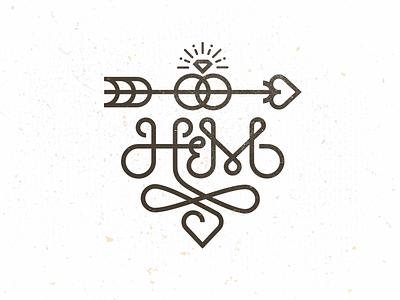 H&M Monogram 2 h b wedding monogram logo design arrow ring heart mike bruner