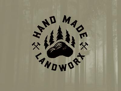 HMLworx drib badgegraphic badge illustration design mikebruner stamp logo bear bear claw landclearing timber excavating forest trees landscaping
