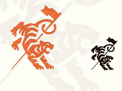 Tiger flag graphic warrior strength blackandwhite icon mark logo illustration golf flag mikebruner tiger