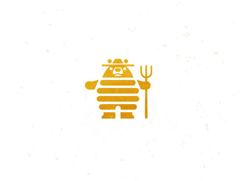 Honey Bear honey bear bee hive design logo icon mike bruner illustration