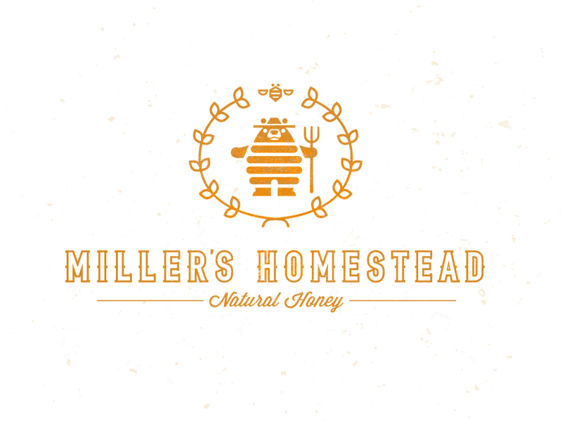 Millers Homestead bear honey farm crest logo bee mike bruner design illustration graphic