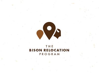 Bison Relocation Program bison buffalo location pin mike bruner logo design graphic illustration