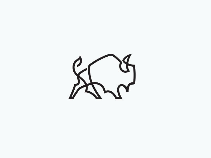 One Line Art Bear : Bison line by mike bruner dribbble