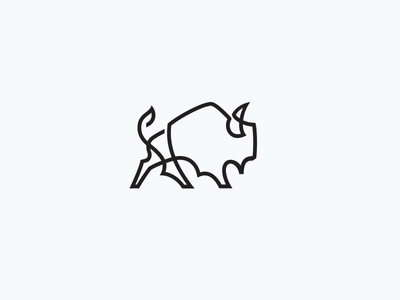 Bison 1line bison buffalo mono-line graphic icon mike bruner illustration single line