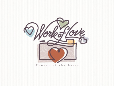 Work Of Love photography love hearts work script type logo