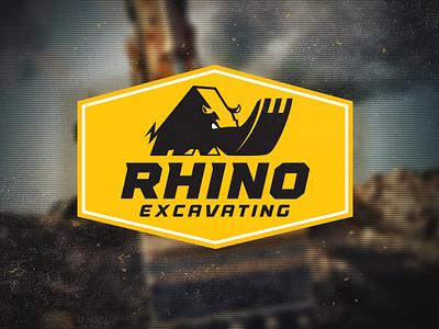 Rhino Excavating Logo rhino excavator machine tough design mike bruner logo illustration
