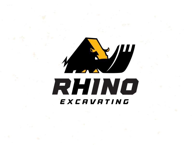 rhino excavating contraction mascot logo design