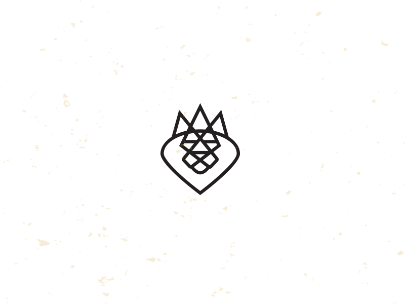 King lion crown illustration logo icon mike bruner design monoline