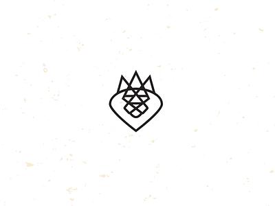 King lion crown illustration logo icon mike bruner design monoline