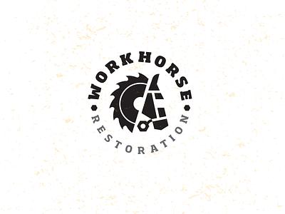 Workhorse 3 Drib craft design bruner mike crest logo restoration construction bolt saw blade carpenter horse