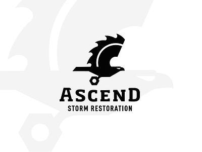 Ascend Storm Restoration_drib bruner illustration mike contractor design logo strong construction nut bolt eagle