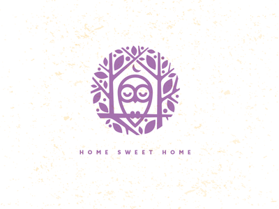 Home_drib crest illustration bruner mike icon stamp home tree owl