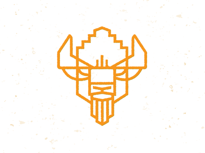 Bison Head_drib monoline illustration bruner mike logo icon design graphic buffalo bison