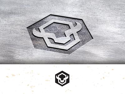 Bison-hexagon_drib logo graphic bruner mike icon mark hexagon bison