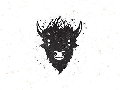 Bison Ridge_drib buffalo illustration bruner mike design crows mountains bison