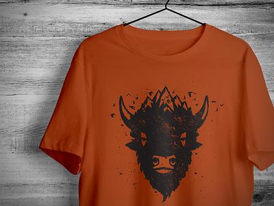 Bison Ridge T Shirt Drib tshirt bruner mike design illustration mountains bison