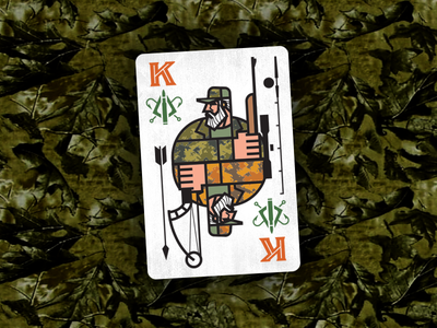 King_Hunt-Fish_drib king fishing hunting card bruner mike playingcard graphic design illustration icon fish hunt fisherman hunter