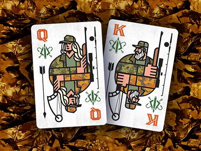 King Queen Hunt Fish Drib playingcard gun arrow bow adventure outdoors fisherman hunter fish hunt graphic icon illustration logo design bruner mike