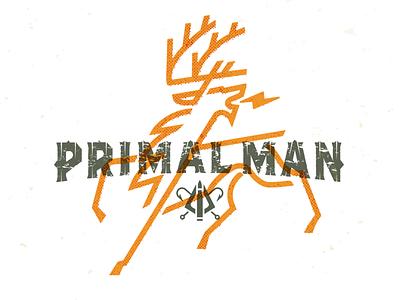 Primal Man_drib outdoorsman design illustration bruner mike elk deer gatherer hunter man primal