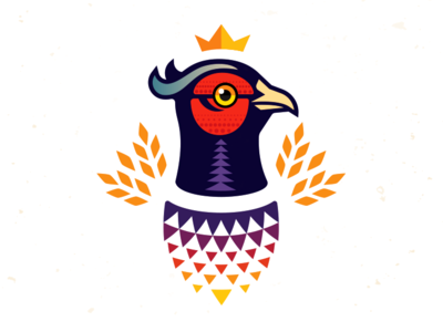 Pheasant King_drib graphic logo design illustration bruner mike majestic crown king hunt gamebird pheasant