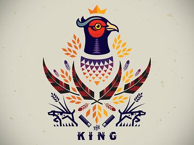 Pheasant_The King_drib design illustration royalty royal bruner pointer dogs hunt crest king pheasant