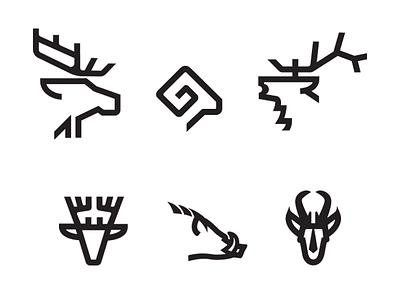 Big Game Monoline_d ram bighornsheep deer antelope pronghorn hog moose elk mikebruner icon illustration monoline