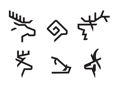 Big Game Monoline Drib 2 ram bighorn antelope pronghorn hog deer moose elk icon graphic illustration logo design mike bruner