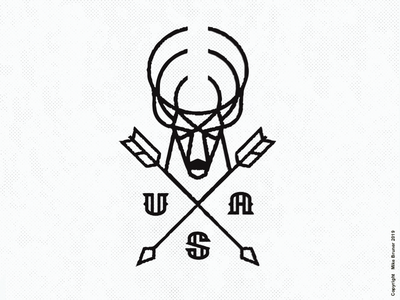 Buck Drib crest monoline arrow outdoor hunting usa design mikebruner illustration deer buck