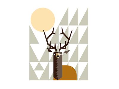 Elk On Alert_drib design graphic deer illustration digitalart forest mikebruner graphicart abstract elk