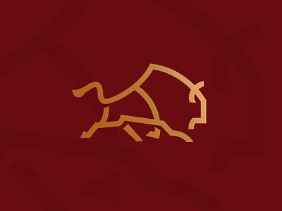 Bison Run_drib monoline strength strong animal designwisely mikebruner graphic run buffalo bison