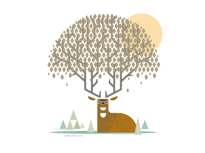 Whitetail Deer_Drib animal graphicart whitetail design illustration digitalart graphic mikebruner deer