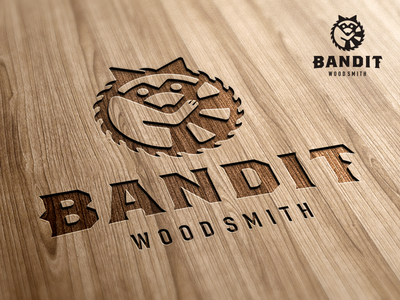 Bandit Woodsmith_drib animal carpentry sawblade designwisely mikebruner logo craftsman carpenter woodsmith raccoon