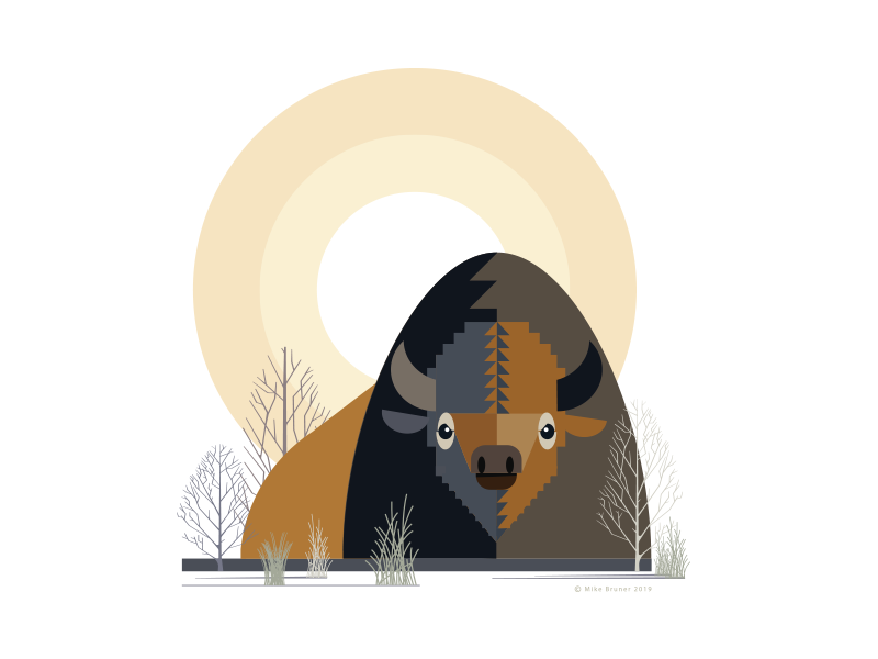 Bison_drib simplistic designwisely mikebruner design abstract illustration buffalo bison