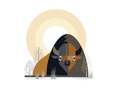 Bison_drib simplistic designwisely mikebruner design abstract illustration buffalo bison