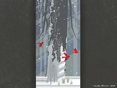 Winter Wonderland-drib cardinals grpahic design wonderland winter forest mikebruner illustration