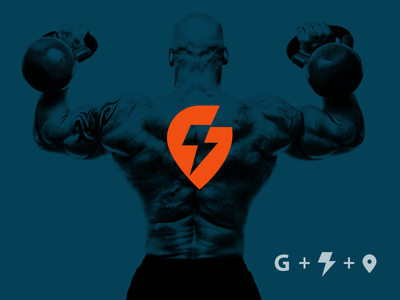 G Power Drib location gym workout icon logo design mikebruner strength location pin bolt power g