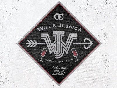 Will & Jessica Label lable wedding save the date design graphic bottle label mike bruner.alcohol w j bruner alcohol logo