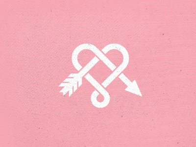 Single Heart Shot arrow heart love cupid icon logo design graphic